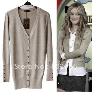 2012 Ladies fashion knitted cardigans sweater V-neck medium-long women's sweaters outerwear autumn