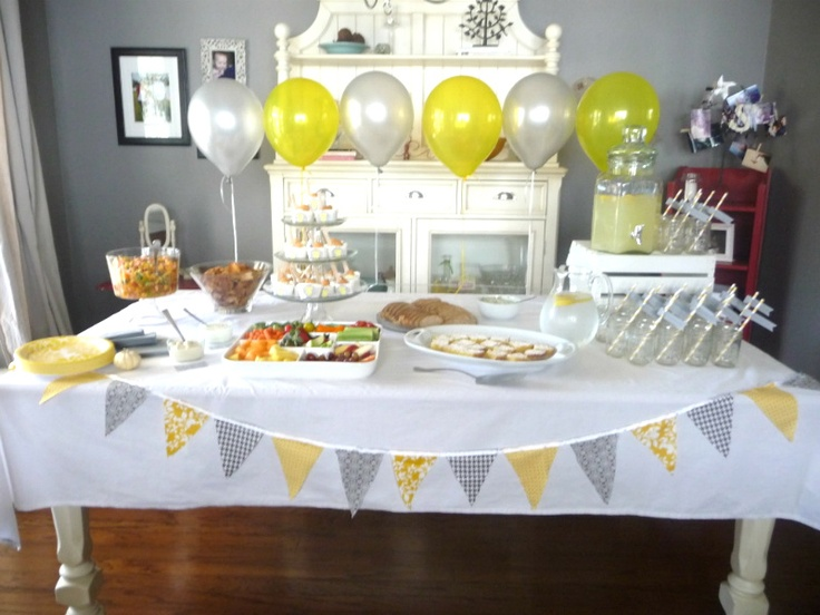 yellow and gray baby shower gender reveal ideas pinterest