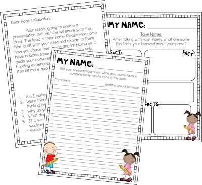 Have your students meet with their parents and discuss all the reasoning and meaning behind their name! This is a fun activity we do at the beginning of the year to help students get to know themselves and each other a little better! It also allows for a fun bonding experience between your student and their parents.