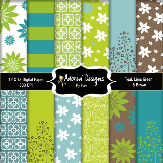 Digital paper instant download teal blue brown lime - Color schemes with lime green ...