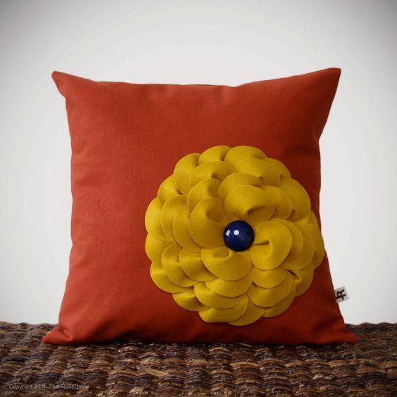 Felt flower pillow, Jillian Rene Decor