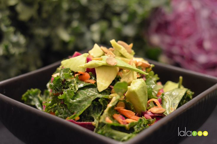 Kale cabbage salad with sweet tahini dressing... Yum! Go to my website ...