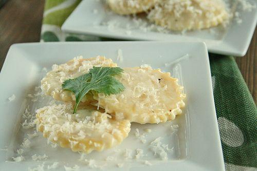 homemade ravioli with garlic cream sauce | Treats | Pinterest