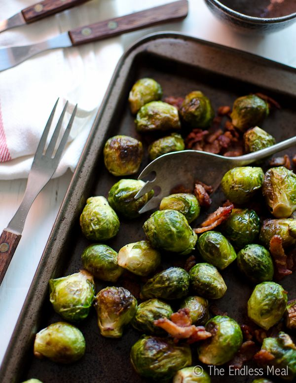 Bacon Roasted Brussel Sprouts - maybe add pomegranate seeds, feta, and ...