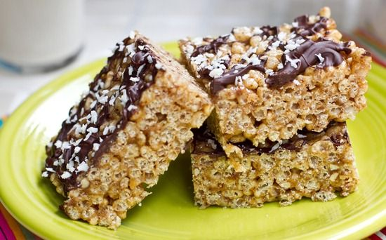 Almond Butter Rice Crisp Treats uses brown rice syrup and almond ...