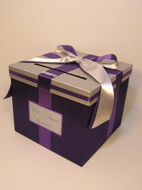 Purple Wedding Gift Card Box : Silver and Purple Wedding Money Box Card Box Gift Card Box Holder-Cus ...