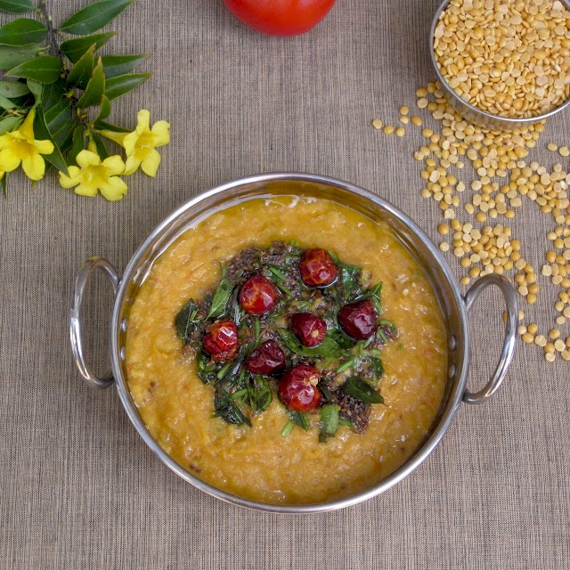 Tadka Tomato Dal And Green Tomato Chutney Recipe — Dishmaps