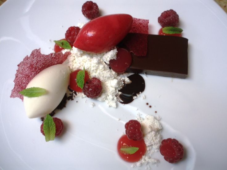 "soft chocolate ganache, raspberry sorbet, ""toast"" ice cream, olive ..."