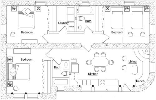 3br 2ba earthbag home plans off the grid pinterest for Earthbag house plans free