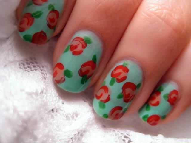 rose design nails. | Nails. | Pinterest