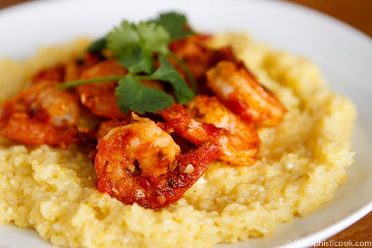 Spicy Shrimp Romesco with Quick Easy Cheesy Grits