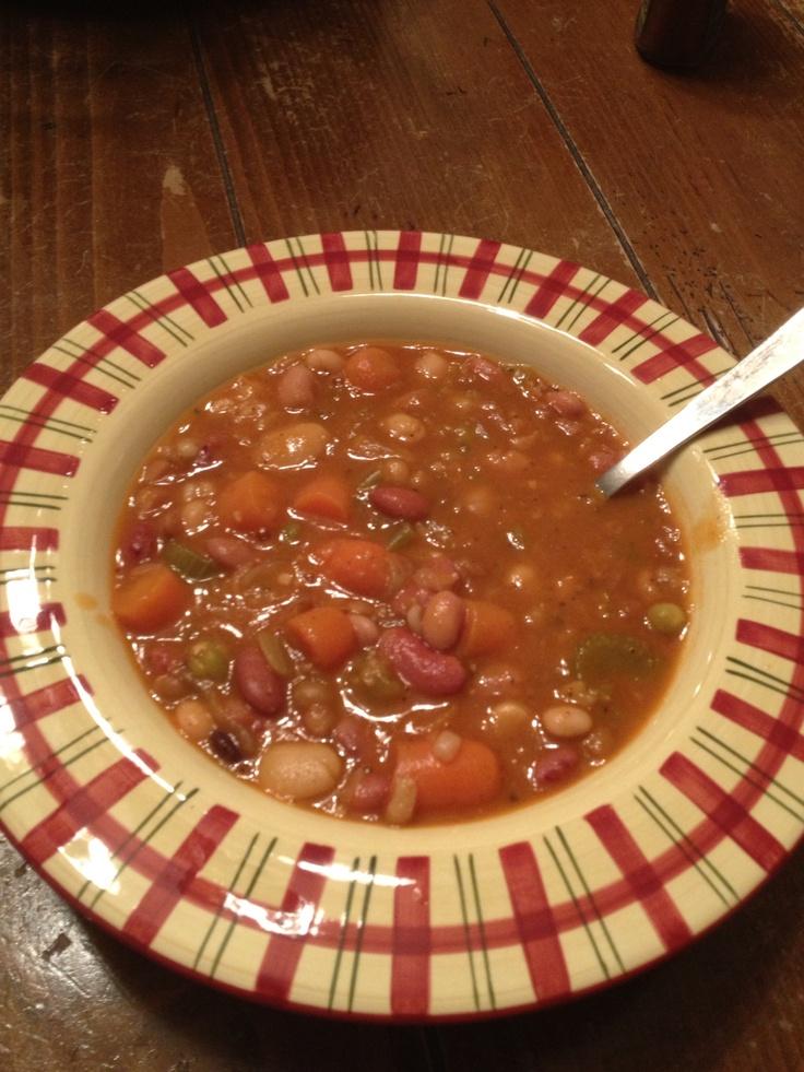 Fiesta Bean Soup - beans n veggies w/a Spanish flair...sauté onion ...