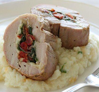 TIER 1 :: Spinach Prosciutto Tomato Mozzarella-Stuffed Pork Tenderloin