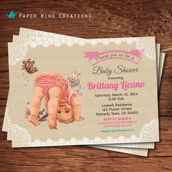 baby girl shower invitation shabby chic baby shower vintage baby sh