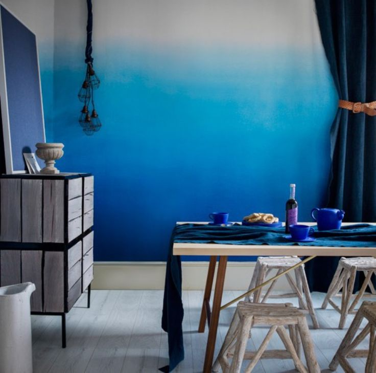 Royal Blue And White Ombre Wall Walls Pinterest