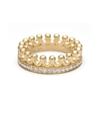 kaman fine jewels gold and pave diamond princess crown wedding band