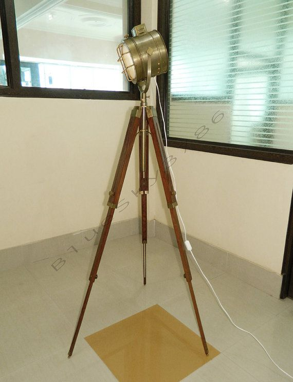 Designer handmade rustic nautical spot searchlight floor lamp modern