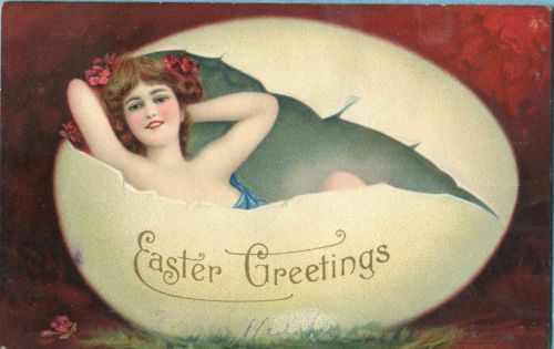 Y4098 Easter postcard, Nouveau woman lays in egg