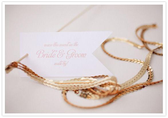 Metallic Foil Streamer Wands : Metallic bride & groom farewell ribbon wand  via