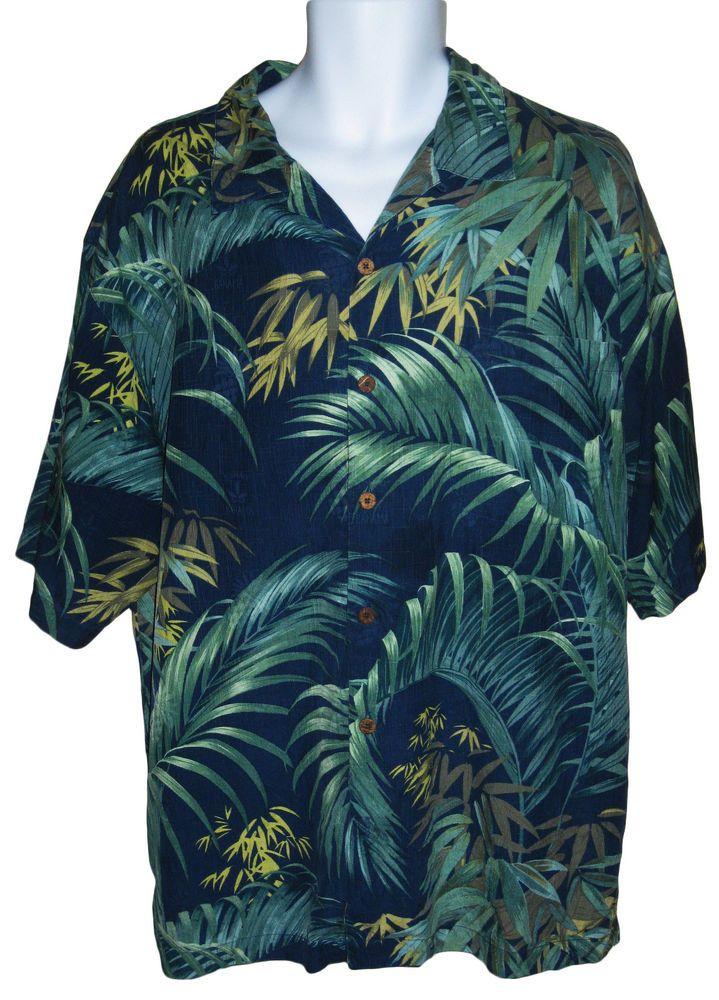 Tommy Bahama Mens Xl Blue Green Tropical Hawaiian Camp