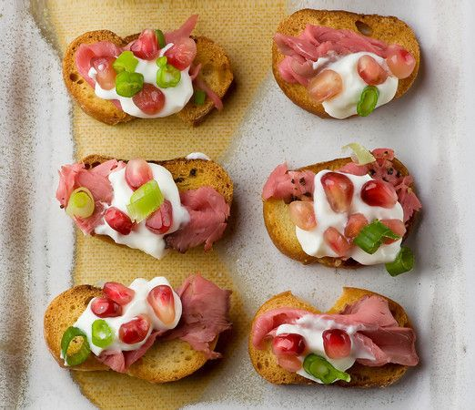 Crostini with Roast Beef and Pomegranate | Slice of Life | Pinterest