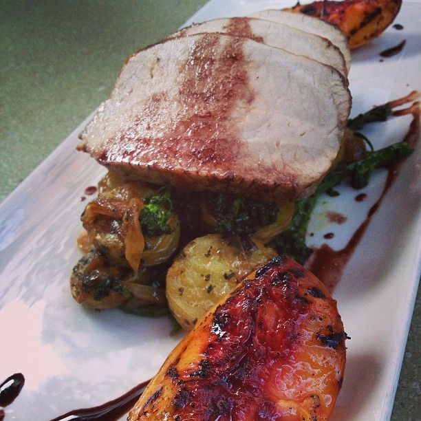 Herbed Grilled Pork Tenderloin With Peaches Recipe — Dishmaps