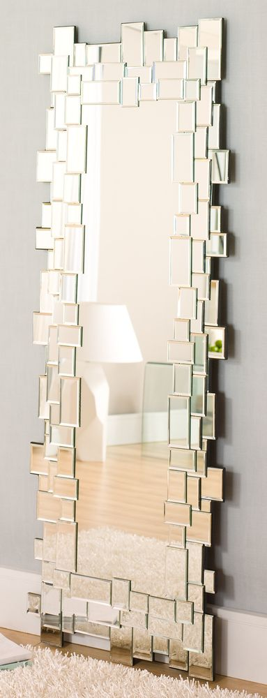 dwell - Mosaic mirror rectangular tall. Could recreate with IKEA Kolja and Honefoss