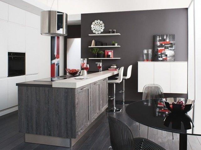 cuisine gris fonce bois avec des id es int ressantes pour la conception de la chambre. Black Bedroom Furniture Sets. Home Design Ideas