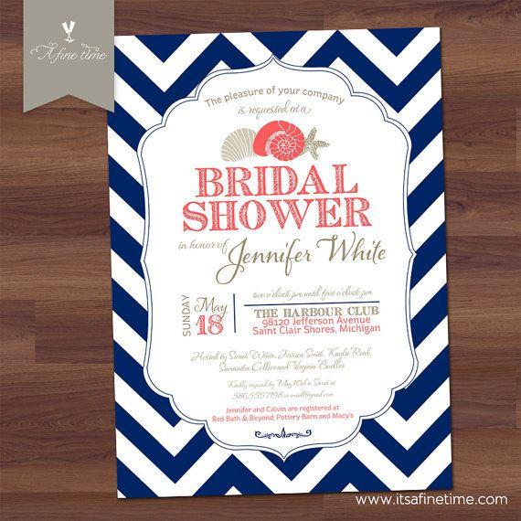 modern nautical bridal shower invitations