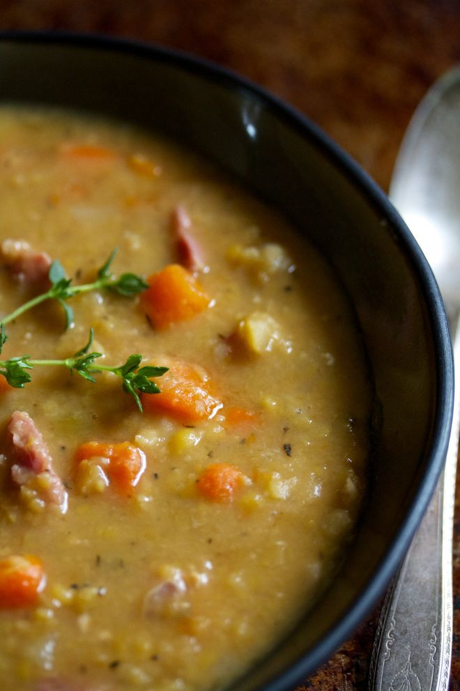split pea soup - maybe add some ground sausage to make it crave-worthy ...