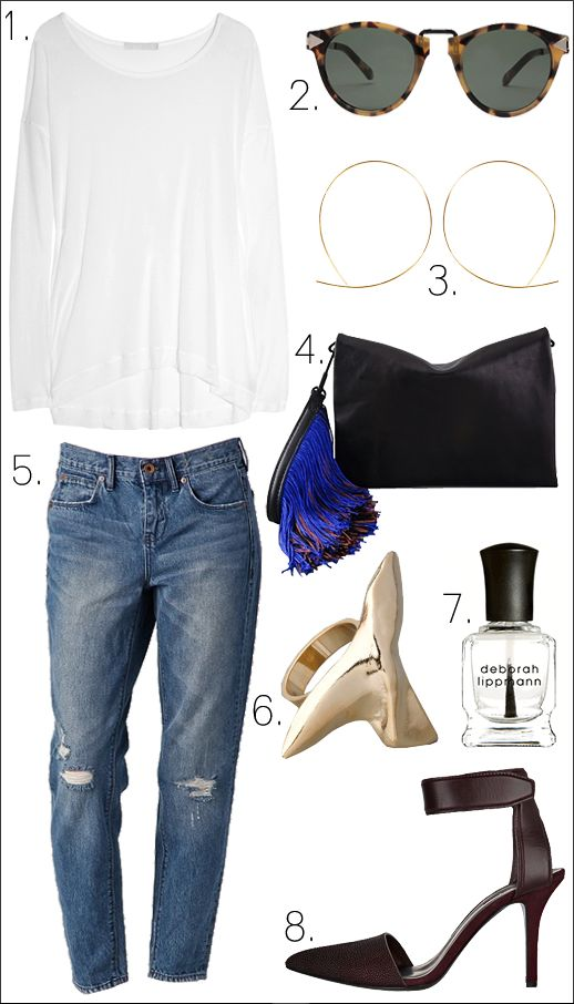 OUTFIT COLLAGE LE FASHION LOOK INSPIRATION MADEWELL INDIGO DENIM ALEXANDER WANG LYIA HEELS STINGRAY 3.1 PHILLIP LIM LYNUS CLUTCH FRINGE KAREN WALKER SUNGLASSES SHARK TOOTH RING JULES SMITH HOOPS FALLON KAIN LABEL TEE BOYFRIEND JEANS
