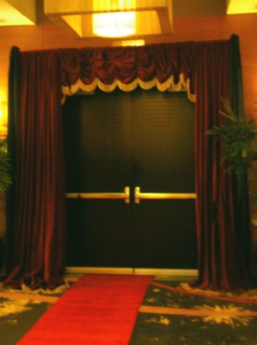 Red movie curtain rental $125 | Movie theme wedding decorations | Pin ...
