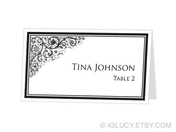 Instant download avery place card template ornamental design on images frompo for Avery printable place cards
