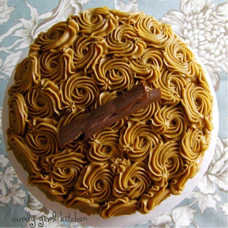 Mocha rum cake with cappuccino rum buttercream.