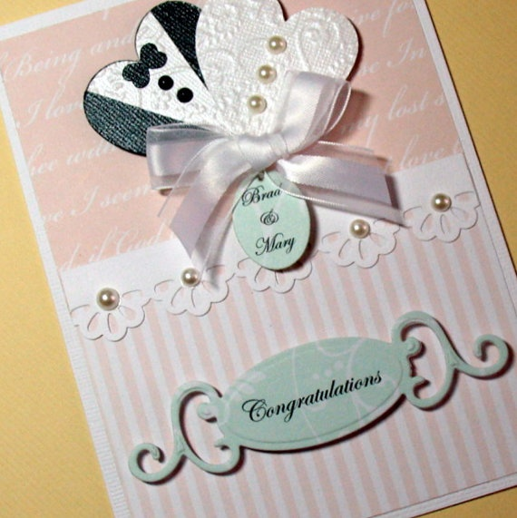 Wedding Shower Gifts For Bride And Groom : Wedding Card, Bride and Groom Hearts Card, Bridal Shower Card, Annive ...