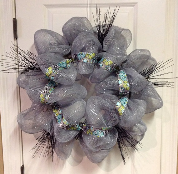 Silver/Gray Deco Poly Mesh Wreath by lace554, $56.00