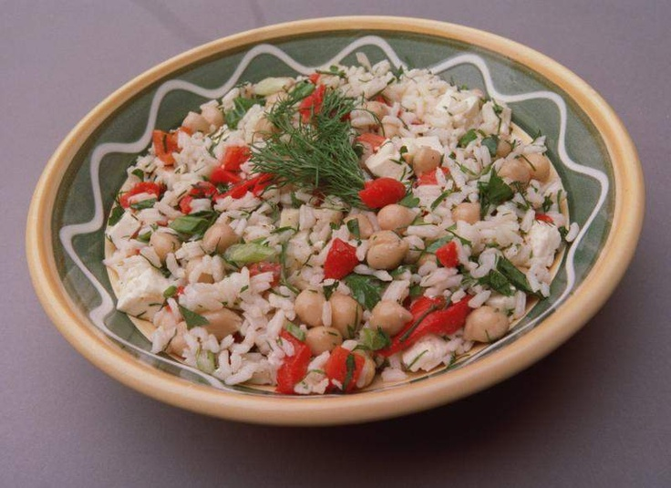 Rice Salad with Roasted Red Peppers, Chickpeas and Feta Cheese