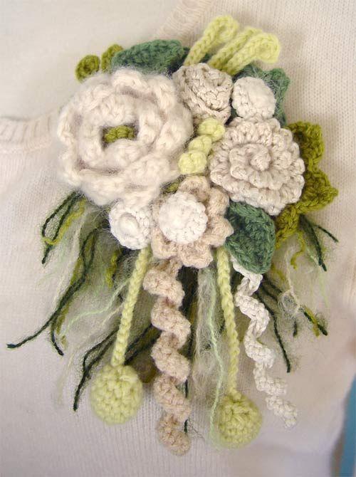 Crochet A Flower Brooch Pattern : crochet flower brooch. Needle Crafts Pinterest