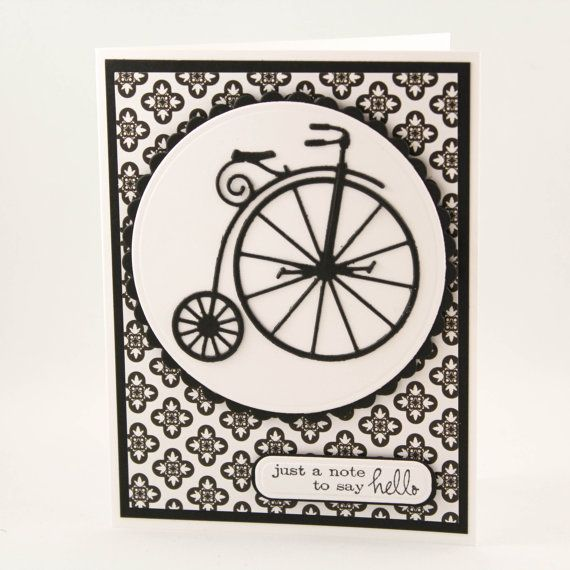 Vintage Bicycle Note Card Black and White Blank Hello by TrioCards