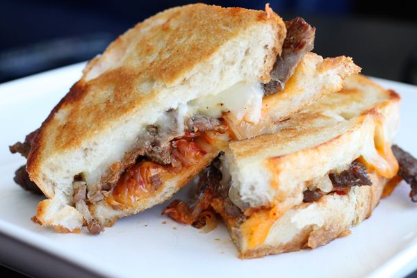 Grilled Cheese Sandwich with Ginger-Garlic Marinated Beef, Kimchi ...