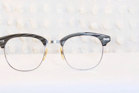 1960s Browline Eyeglasses Gray Wood Grain Diagonal ...