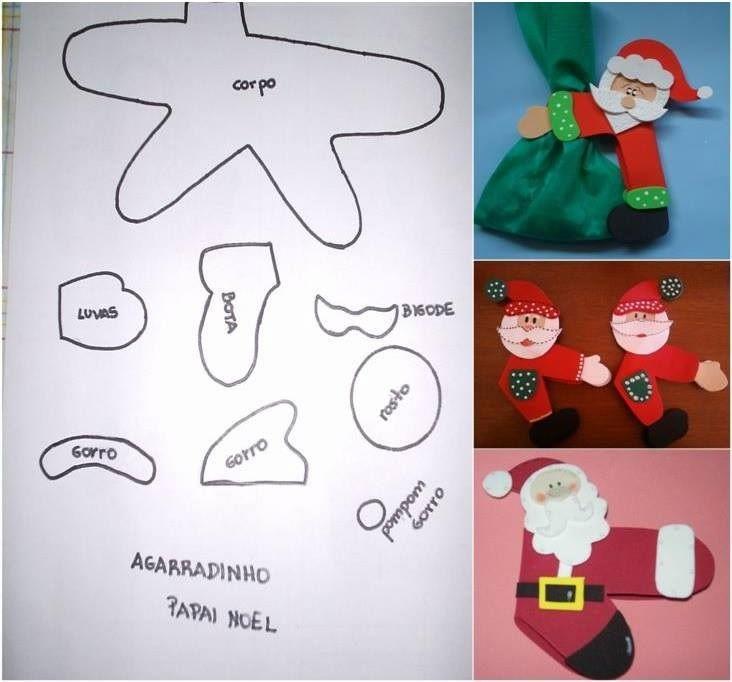 Faça você mesmo: Agarradinho de Papai Noel Feltro ou eva + Cola + Pregador de roupa Boa sugestão para lembrancinhas, colocar nas embalagens de presente, enfeites na mesa de Natal, ... https://www.facebook.com/pages/Chiquinha-Artesanato/345067182280566