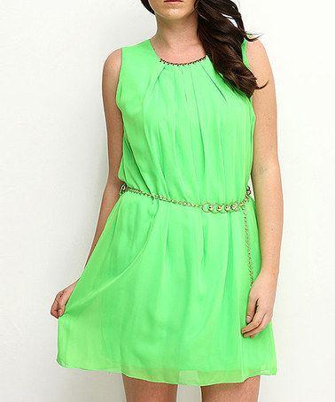 Found on zulily green pleated belted dress women zulilyfinds