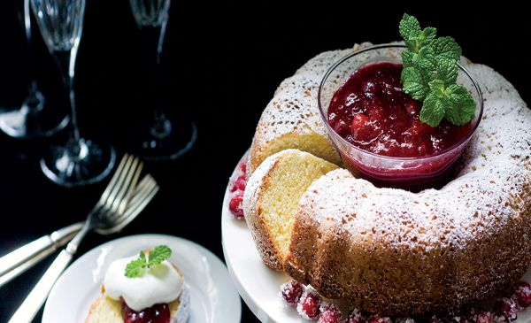 Gluten Free Almond Pound Cake with Cranberry Syrup