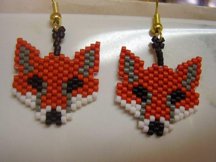 american design beaded fox animal wildlife earrings