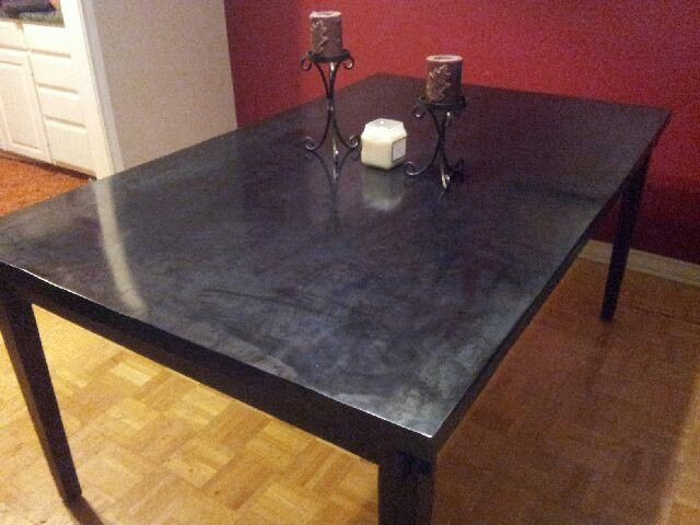 custom metal top for dining room table new amsterdam