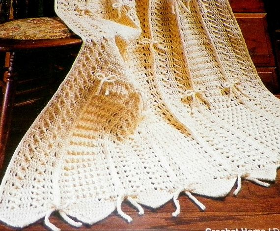 Crochet Pattern Aran Afghan : Crochet Pattern Afghan Aran Sampler With Bows Stripe Out ...
