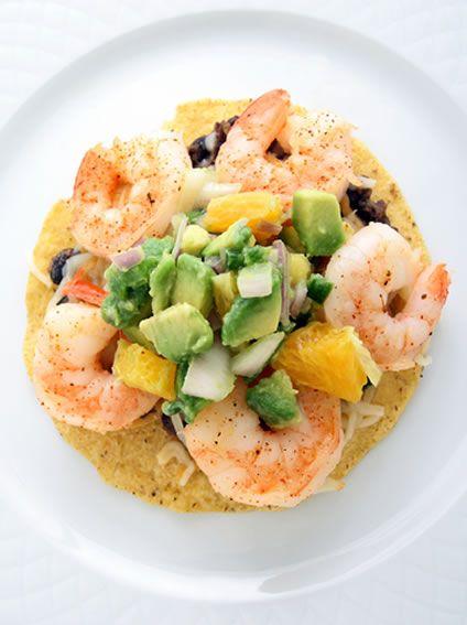 Mexican Shrimp Tostada with Homemade Avocado Salsa and Beans