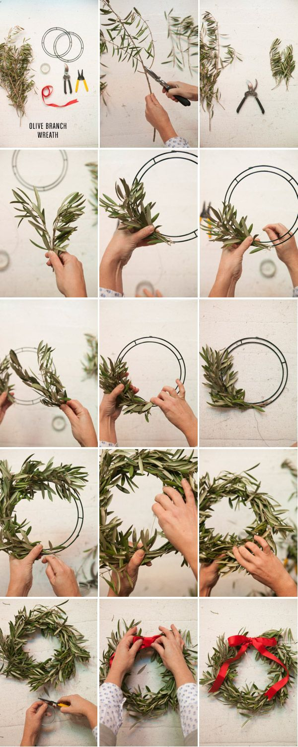 I have a huge olive tree  -this would be great. 3 Wreaths to Make for the Holidays / Oh Happy Day