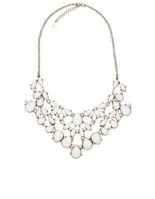 Oversized Resin Bib Collar Necklace | White | Accessorize